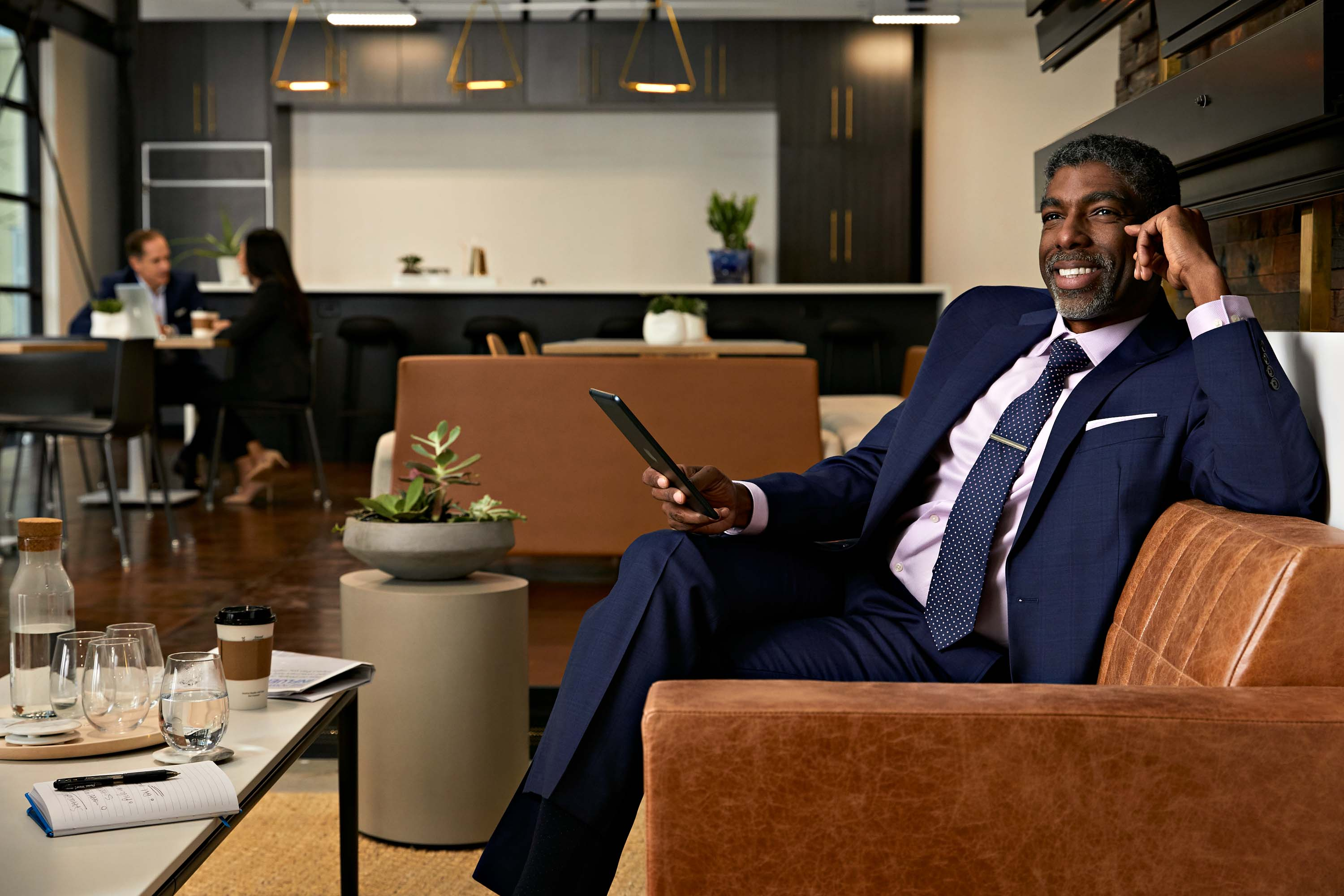 African American executive businessman in hotel lobby, Atlanta