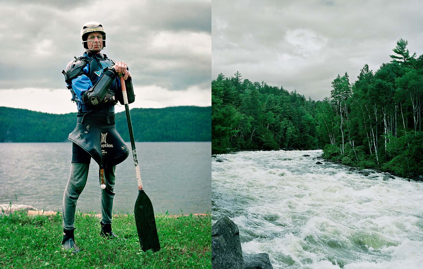 Outdoor photograph of kayaker and white water river