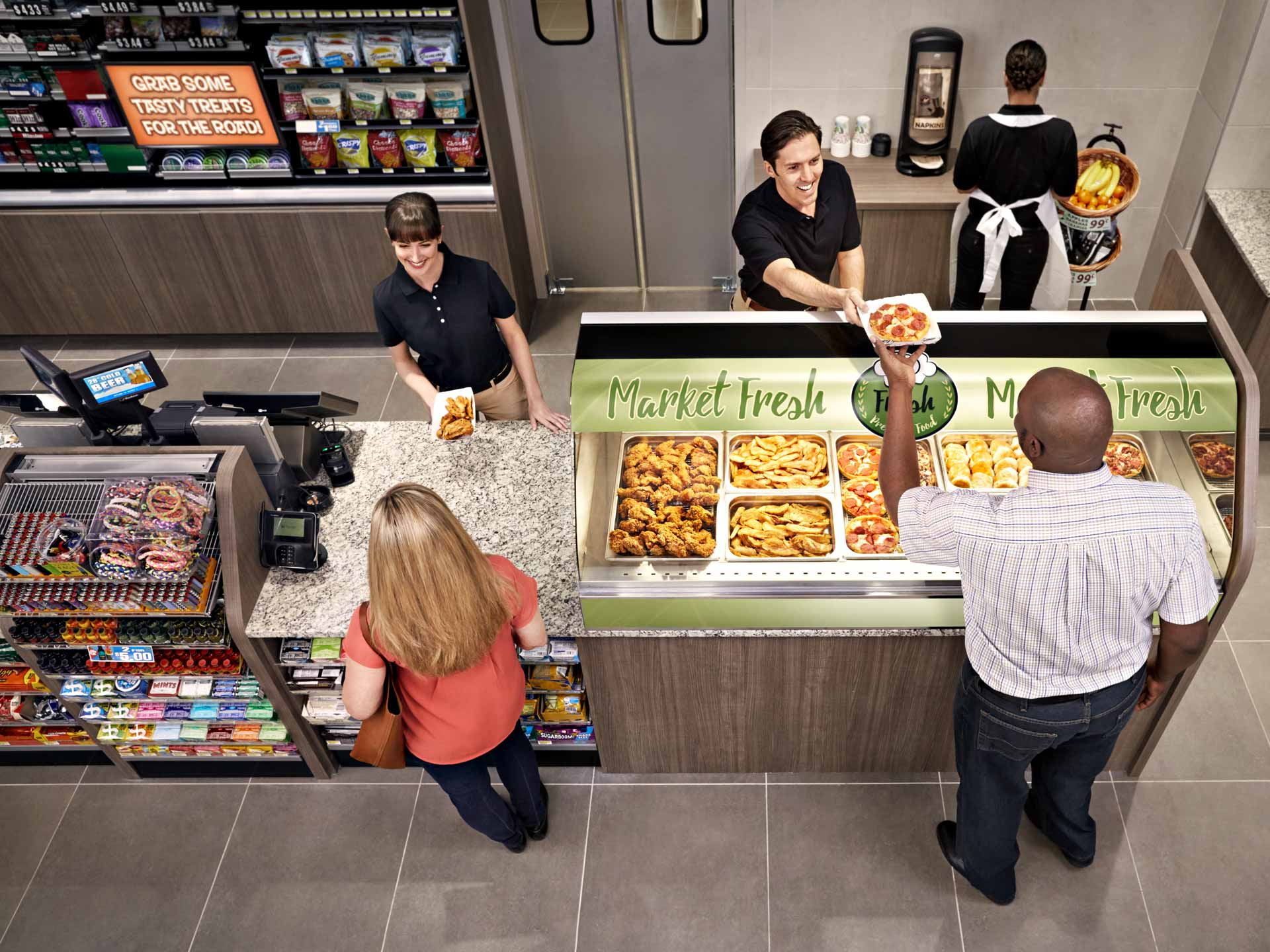 Overhead view of gas station checkout. Atlanta based advertising photography
