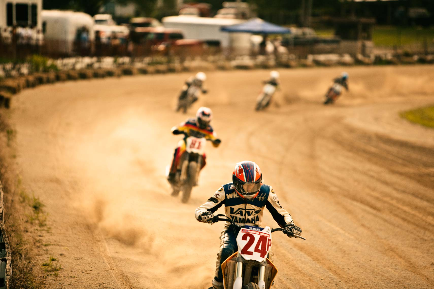 Sports photograph of motorcycle race