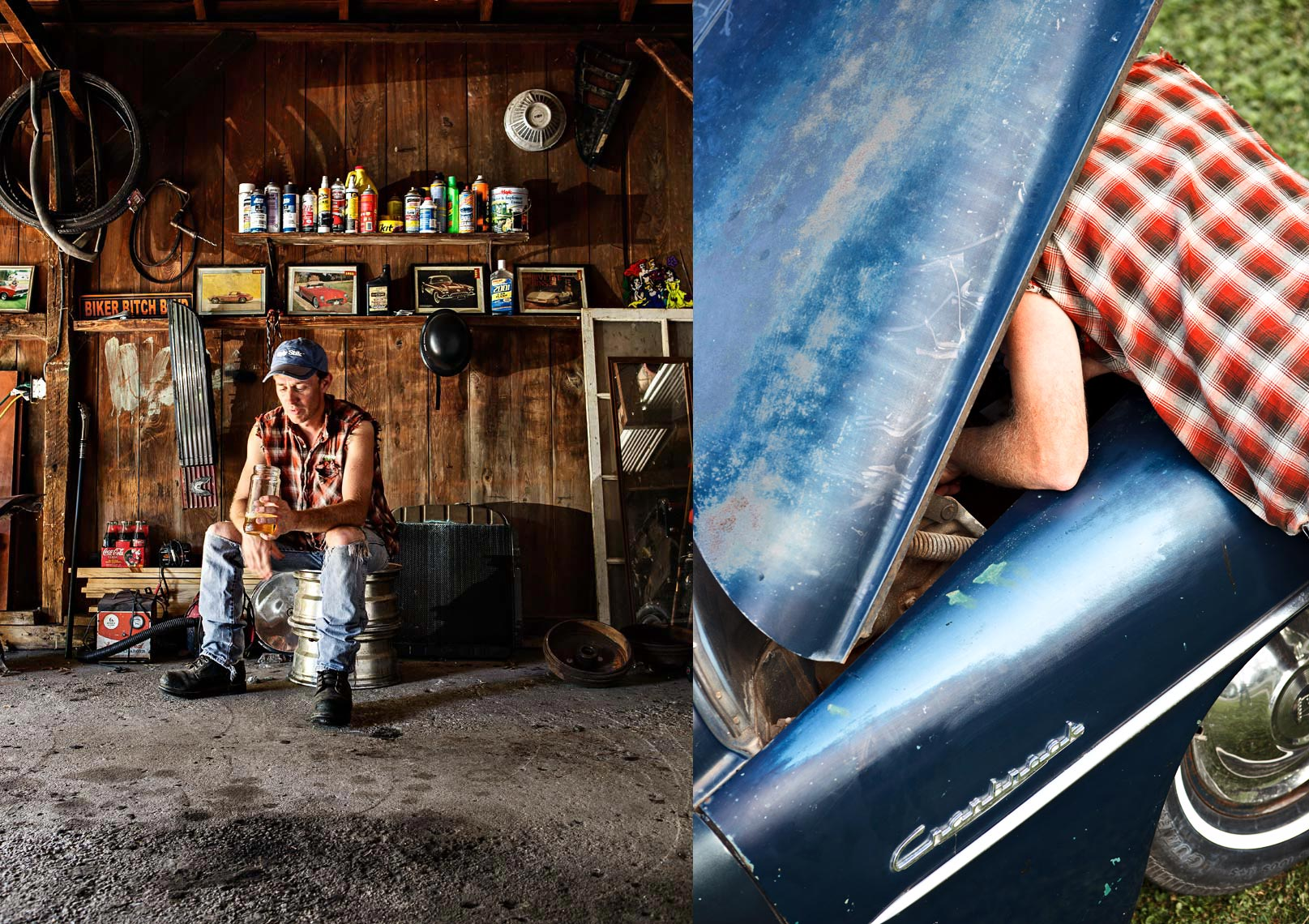 Two photographs of redneck man working on vintage car