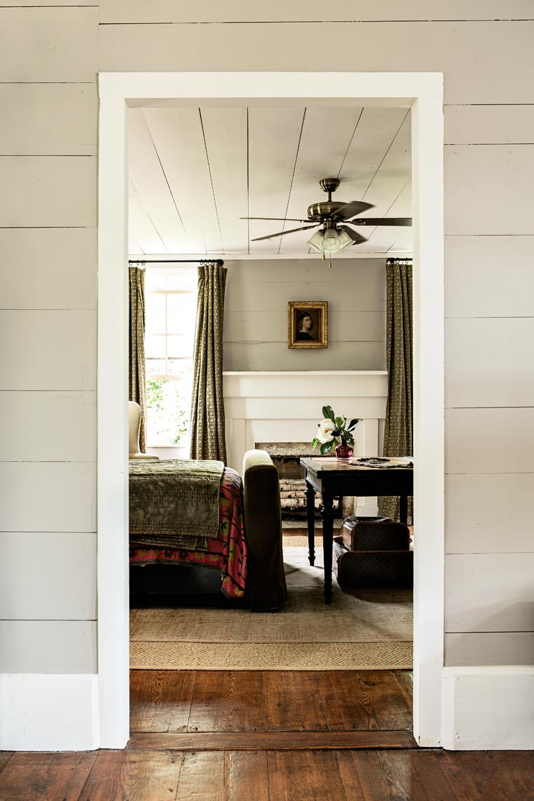 Looking through doorway into room to show rustic interior design, Atlanta