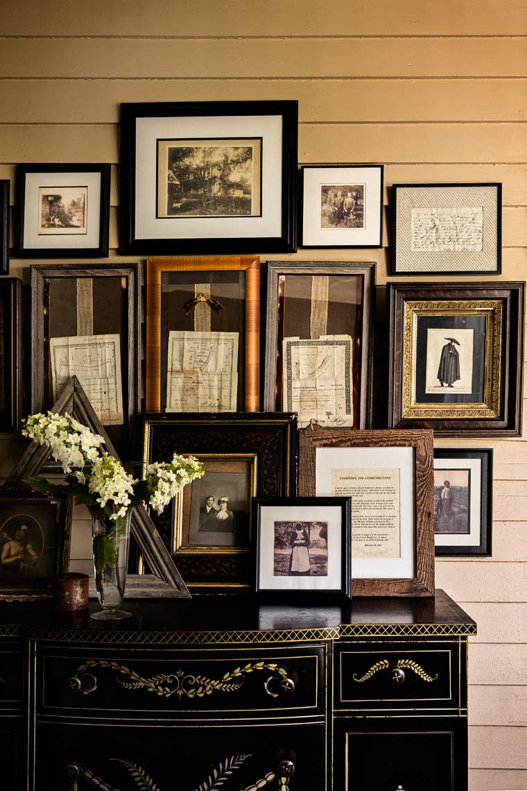 picture frames in editorial interior design photograph by Atlanta based photographer