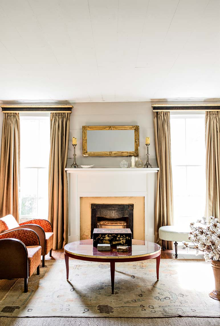Interior design view of living room by Atlanta editorial photographer from Garden and Gun