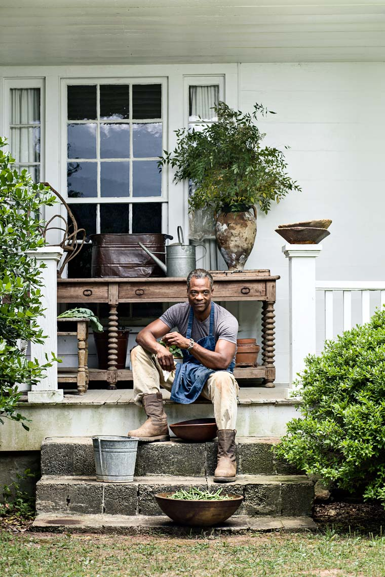 Lifestyle portrait of african american male shucking beans, by Atlanta based lifestyle photographer