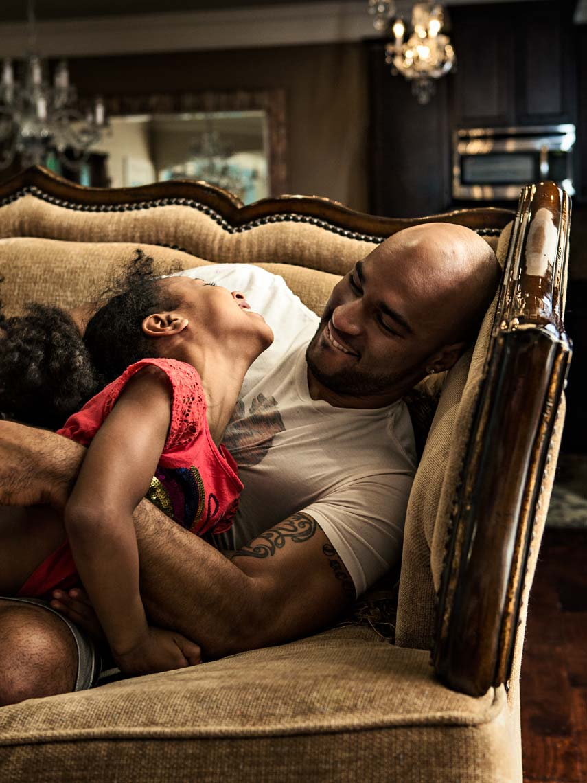 Editorial photograph of gay African American father and daughter, Atlanta