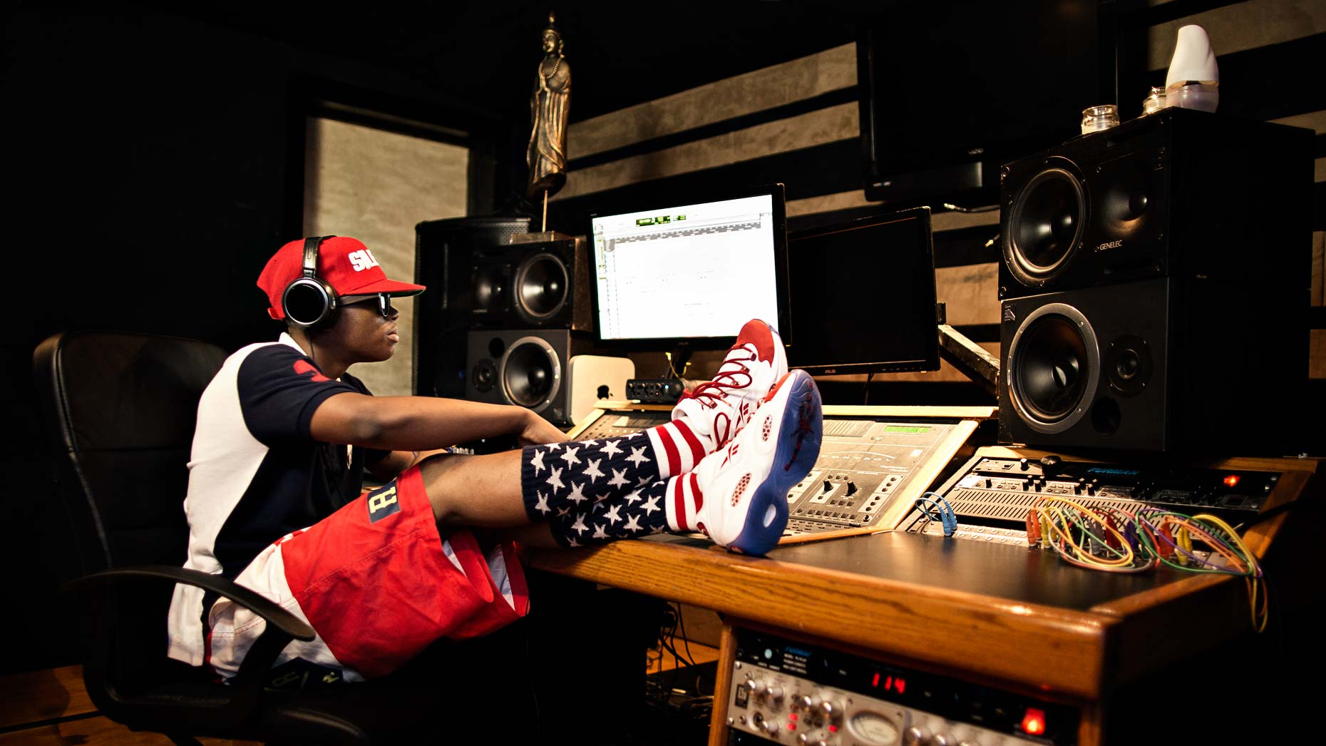 Atlanta rapper Silento photographed in recording studio for Reebok