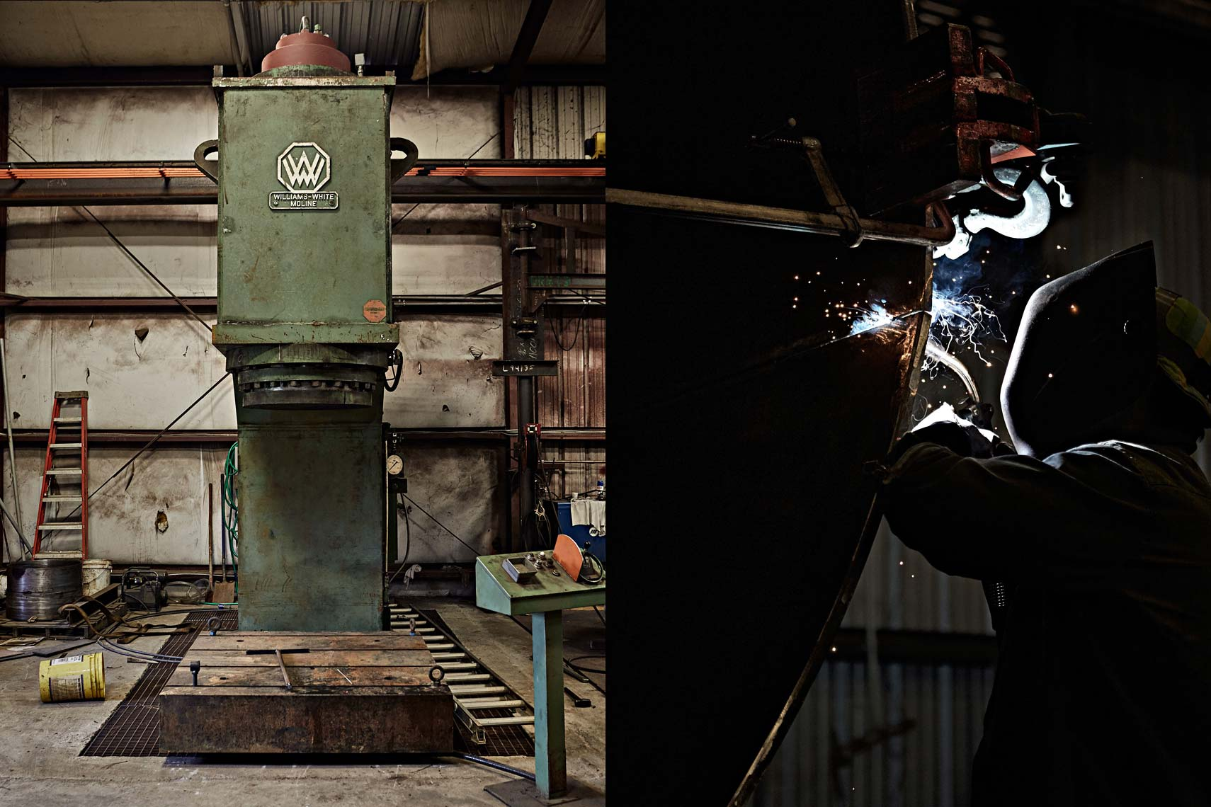 Stamp machine and welding in factory. Atlanta industrial photography