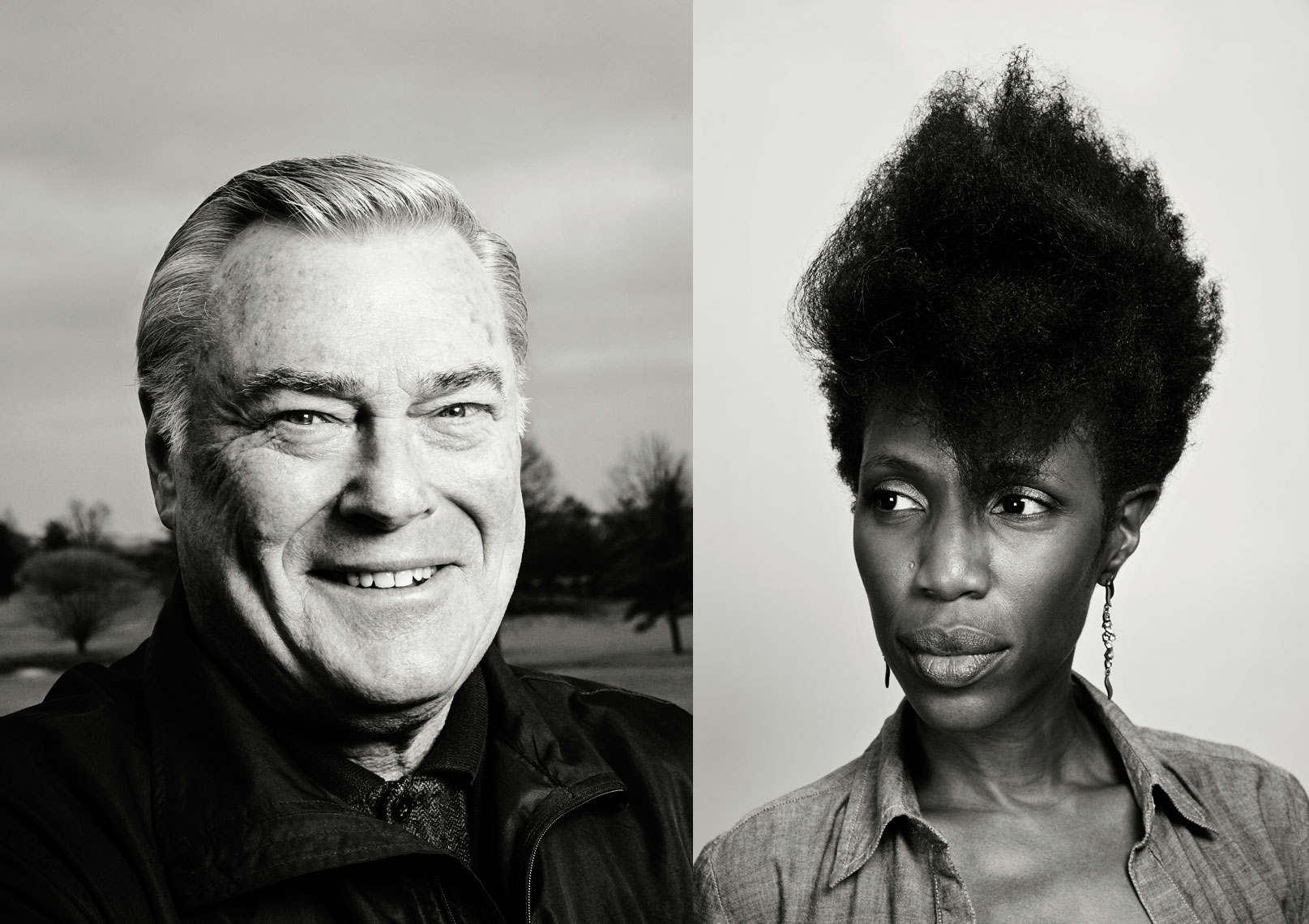 Black and white photographic portraits of man and AA female