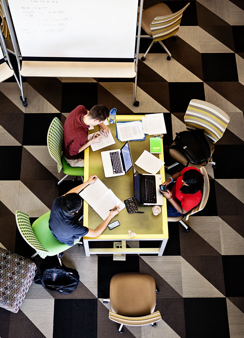 Overhead photograph of students studying at university, Atlanta photography