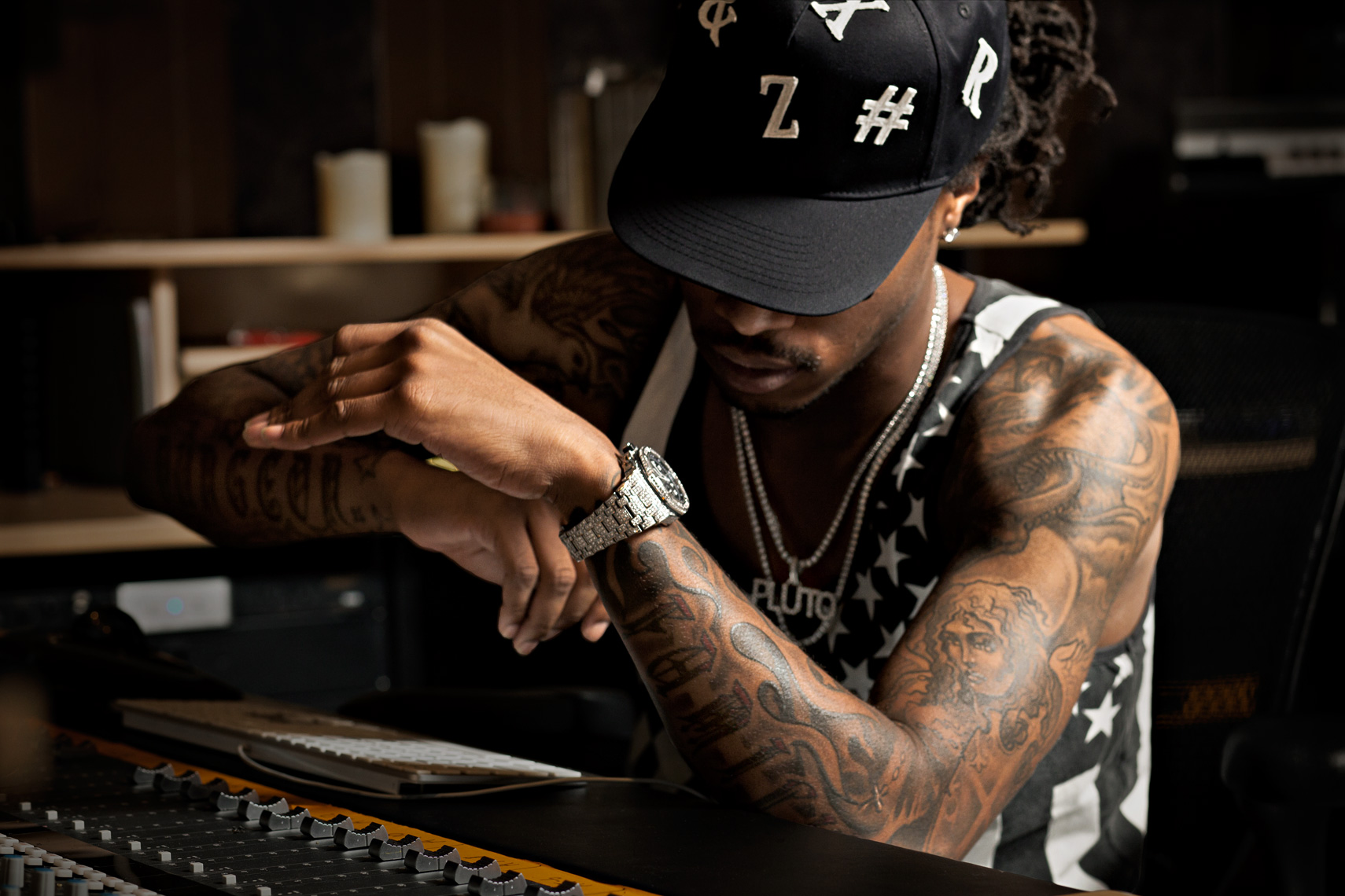 Portrait of Atlanta rapper Future at mixing desk in Atlanta studio